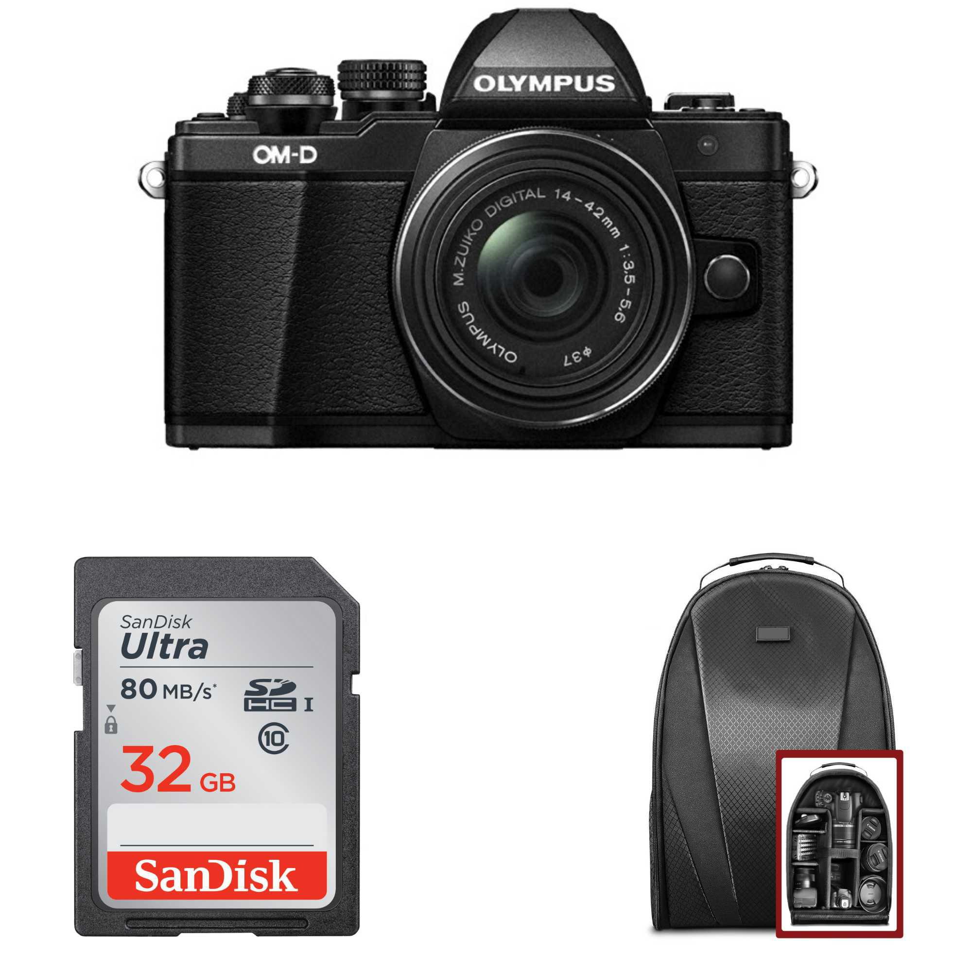 Olympus OM-D E-M10 Mark II Camera w/ M.Zuiko Digital ED 14-42mm EZ Lens (Black) + 32GB Card + Backpack
