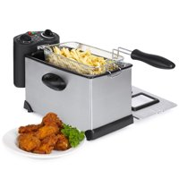Best Choice Products 6-Piece 1700W 3L Stainless Steel Deep Fryer w/ Adjustable Temperature, Timer, Basket, Lid - Black