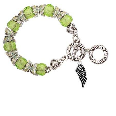 Angel Black Charm Bracelet (Silvertone Medium Black Enamel Angel Wing Lime Green Butterfly Bead Charm)