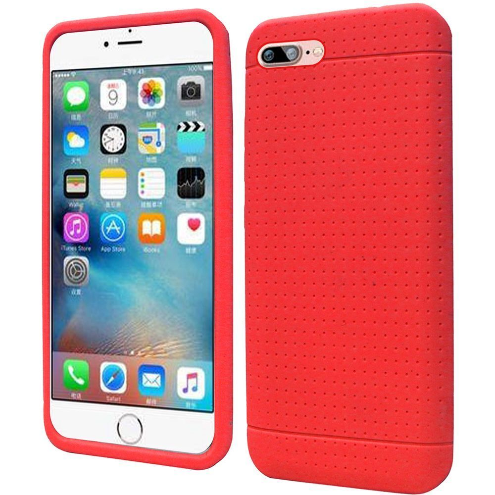 iPhone 8 Case, iPhone 7 Case, by Insten Rugged Silicone Rubber Case For Apple iPhone 8 / iPhone 7 - Red