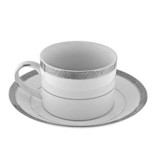 TenStrawberryStreet Luxor Platinum Rim 8 oz. Teacup and Saucer (Set of 6)