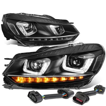 For 2010 to 2014 VW Golf / GTI LED DRL Halo Ring+Sequential Turn Signal Projector Headlight Black Housing Headlamp 11 12 13 11 12 13 - Golf Dual Halo Projector Headlights