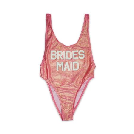 Women's Shiny Pink BRIDES MAID VCleavage High Cut One Piece Swimsuit - Made in USA