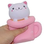 PINK CUP CAT SQUISHY TOY SUPER SLOW RISING SCENTED
