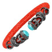 Amazonite & White Topaz Rope Scroll Coral Red Stingray Cuff Bracelet in Sterling Silver