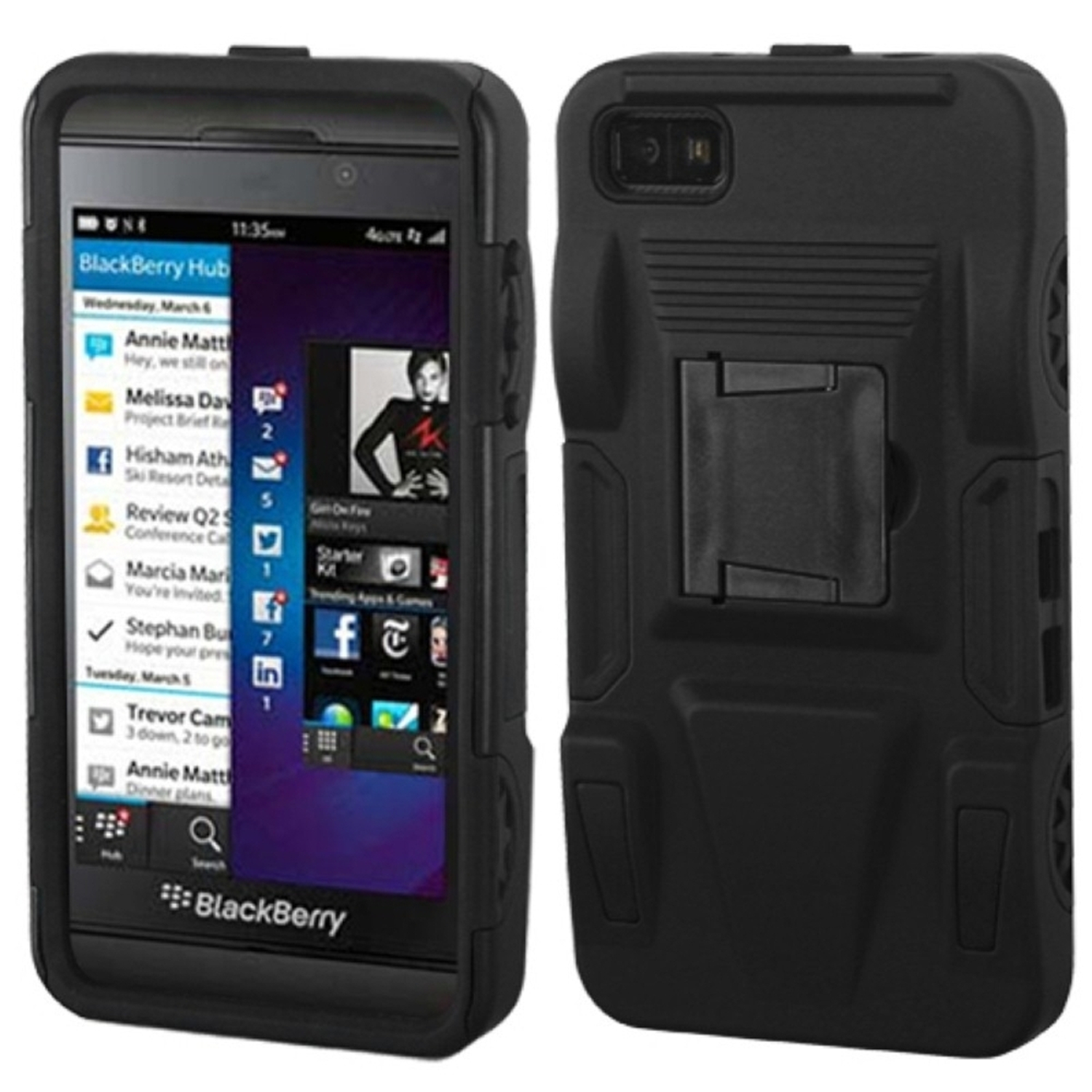 Insten Black/Black Advanced Armor Stand Case (Rubberized) for BLACKBERRY: Z10