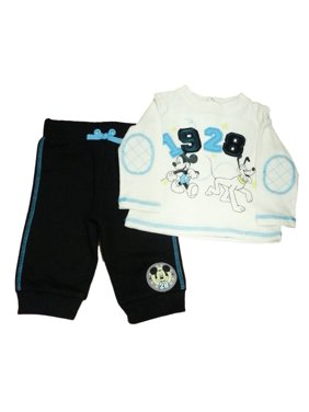 ecdd6ac88 Product Image Disney Mickey Mouse & Pluto Infant Boys White Shirt & Black  Sweatpants Set