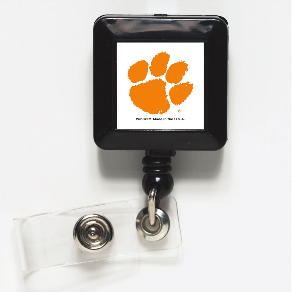 Clemson Tigers Official NCAA 1 inch x 1 inch  Retractable Badge Holder Key Chain Keychain by Wincraft