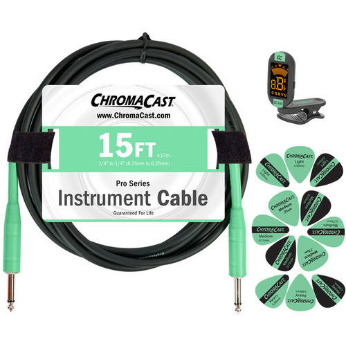 ChromaCast Guitar Accessory Pack with 15' Straight-Straight Instrument Cable, Tuner and... by