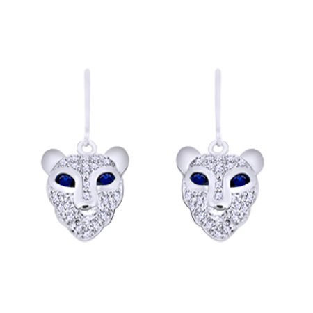Round Shape Simulated Blue Sapphire With White CZ Lion Face Dangle Earrings In 14K White Gold Over Sterling