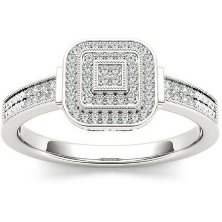 Imperial 1/5 Carat T.W. Diamond Cluster Square Double Halo 10kt White Gold Engagement Ring