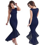 EZshoot Sexy Women Maxi Long Fishtail Dress Ball Prom Gown Formal Cocktail Wedding Evening Party