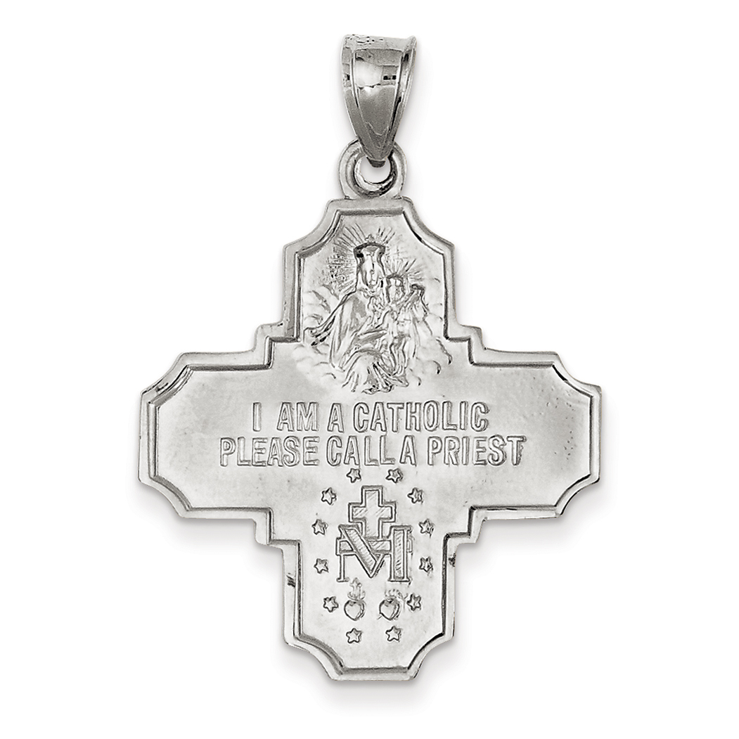 14K White Gold Polished and Satin Four Way Medal Pendant - image 1 of 3