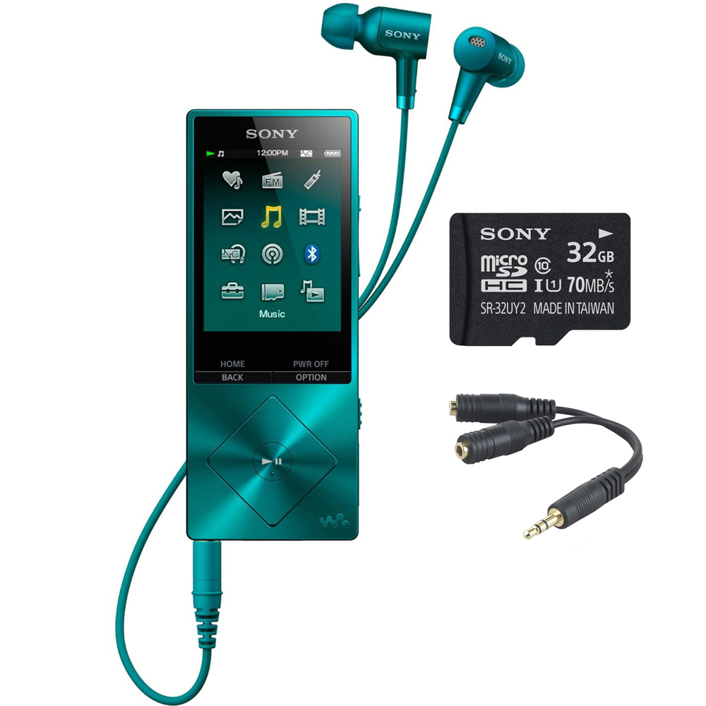 Sony 32GB Hi-Res Walkman Digital Music Player with Noise Cancelation - Blue (NWA26HNLM) with Sony 32GB micro SDHC Class 10 UHS-1 Memory Card & Belkin Speaker and Headphone Splitter