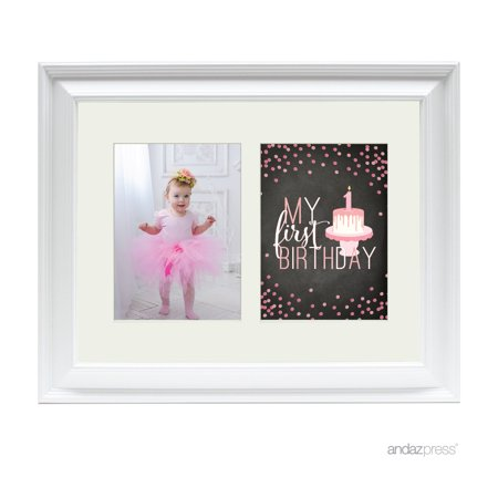 First Birthday Girl Double White 5 x 7-Inch Photo Frame Baby Wall (1st Birthday Picture Frame)