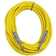 """Seismic Audio  - Yellow 1/4"""" TS 25' Patch Cable - Effects - Guitar - Instrument Yellow - SASTSX-25Yellow"""
