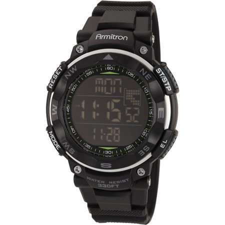 Armitron Men's Digital Sport Watch, Black, Resin Strap