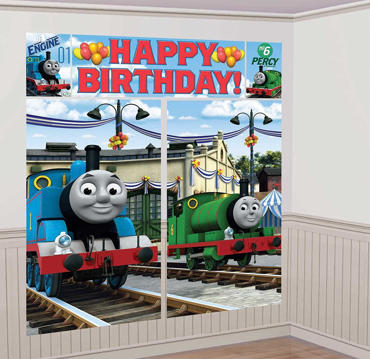 Thomas the Train Tank Engine ( ) Scene Setter Wall Decorations Kit - Kids Birthday and Party Supplies Decoration, 5 PIECES WALL DECORATION KITS By Thomas & Friends