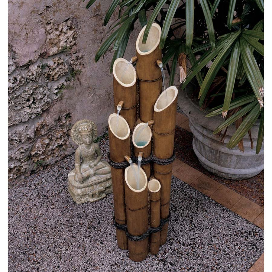 Cascading Bamboo Sculptural Fountain by Design Toscano