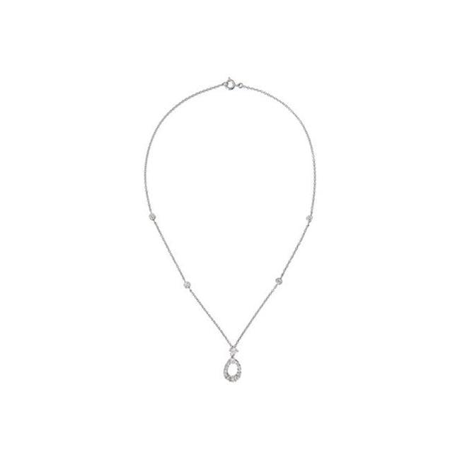 CZ Nec2020 C. Z.  Simulated Diamond Teardrop Shape - . 925 - Sterling Silver Necklace