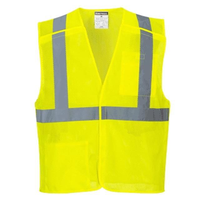 US384 Small Hi-Visibility Economy Break-Away Mesh Vest, Yellow - Regular