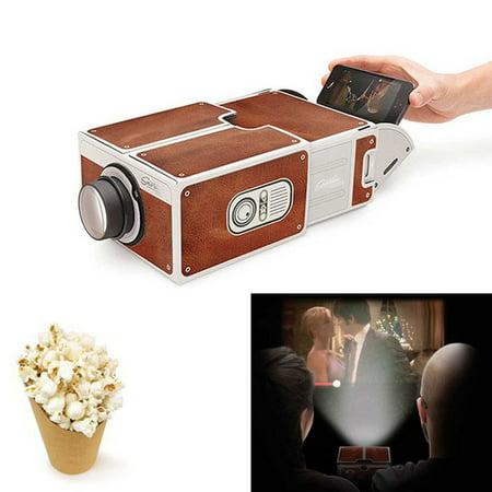 DIY 3D Projector Cardboard Mini Smartphone Projector Light Novelty Adjustable Mobile Phone Projector Portable