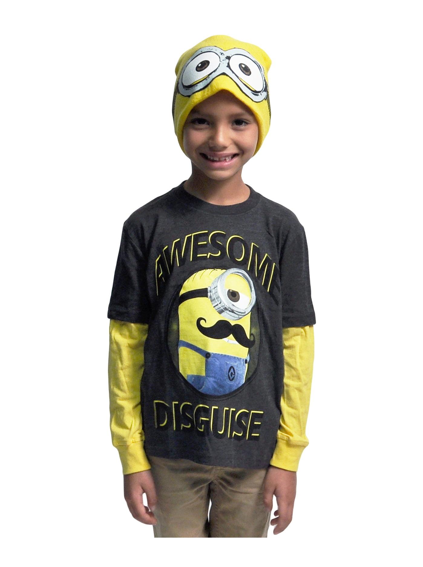 Boys Minions Long Sleeve Shirt & Beanie 2-Piece Set