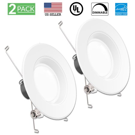 Sunco Lighting 2 Pack 5 / 6 Inch Baffle Recessed Retrofit Kit LED Light Fixture, 13W (75W Replacement), 3000K Kelvin Warm White, 830 Lumen, Dimmable, Quick/Easy Can Install, Wet Area