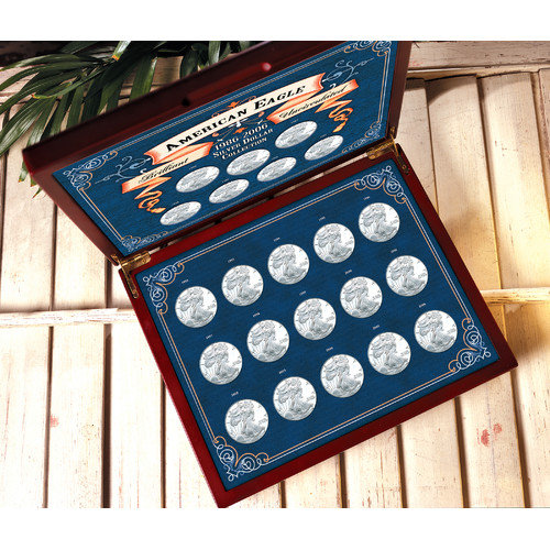 American Coin Treasures 1986-2007 Brilliant Uncirculated American Silver Eagle Collection in Wood Display Box