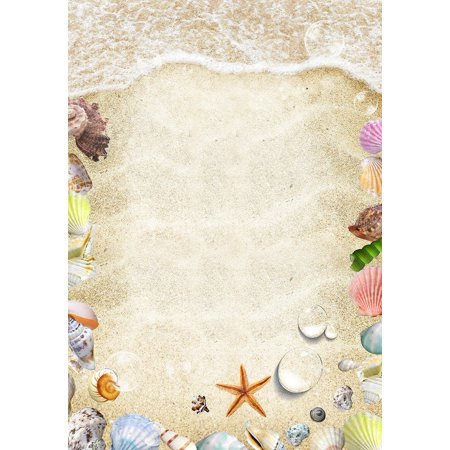 HelloDecor Polyster 5x7ft Gold Beach Party Decorations Photo Booth Background Photography Backdrop (Beach Party Backdrop)