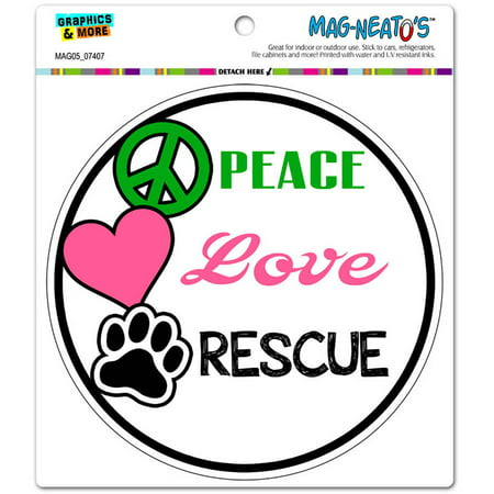 Peace Love Rescue Adopt Animal Shelter Pet Dogs Cats Paw Print Circle Automotive Car Refrigerator Locker Vinyl - Print Magnets