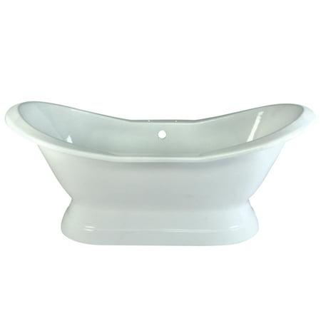 Aqua Eden 72-Inch Cast Iron Double Slipper Pedestal Tub with 7-Inch Faucet Drillings,