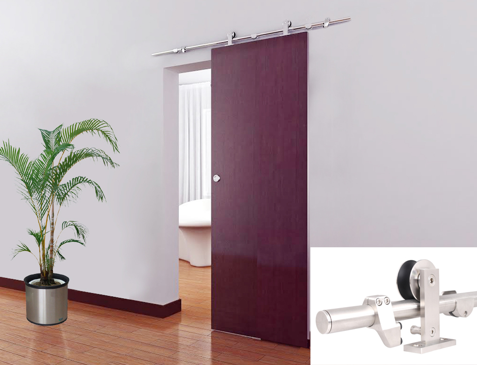TMS 5FT European Modern Interior Sliding Barn Door Track Hardware Kit Satin  Stainless Steel