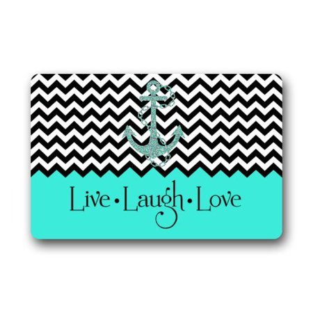 WinHome Hipster Quotes Live Love Laugh in Turquoise Colorblock Chevron with Anchor Doormat Floor Mats Rugs Outdoors/Indoor Doormat Size 23.6x15.7 inches
