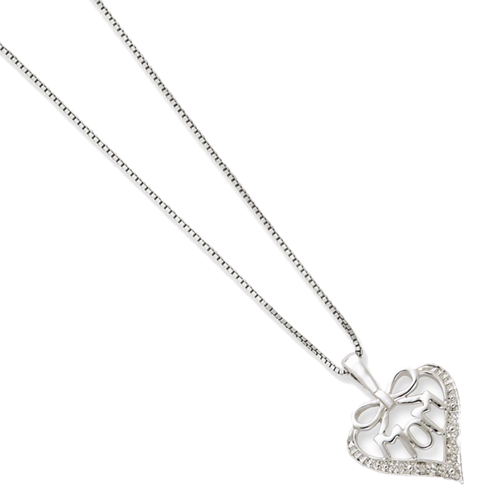 925 Rhodium Flashed Silver White Diamond Mom Bow Heart Pendant Necklace