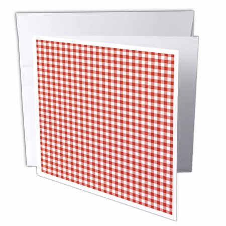 3dRose Red and White Gingham, Greeting Cards, 6 x 6 inches, set of (Gingham Card)