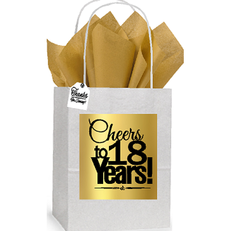 18th Cheers Birthday / Anniversary White and Gold Themed Small Party Favor Gift Bags Stickers Tags -12pack](Golden Birthday Themes)