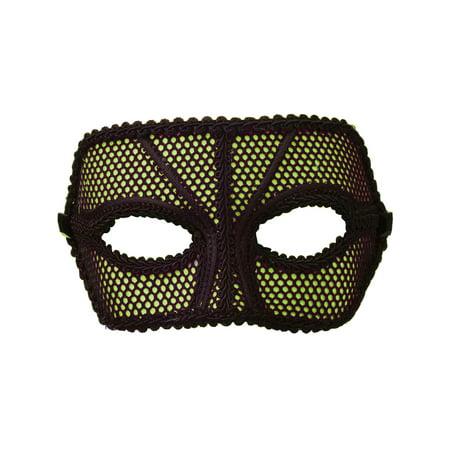 Deluxe Retro 80s Neon Black and Green Fishnet Costume Venetian Eye Mask