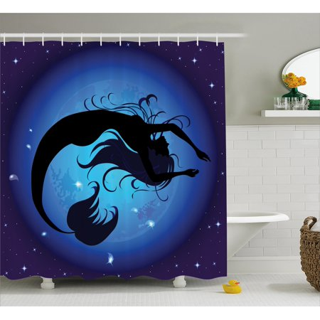 Mermaid Shower Curtain, Silhouette of Legendary Aquatic Girl on Moon Sky Background Fictional Print, Fabric Bathroom Set with Hooks, 69W X 70L Inches, Dark Blue Black, by Ambesonne