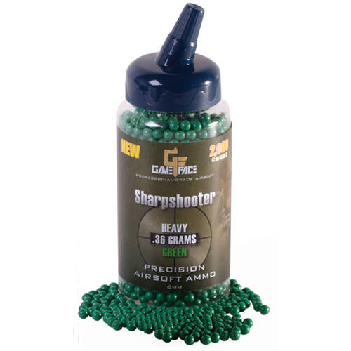 Game Face by Crosman, Pro Grade .36 Gram Airsoft Ammo, 2,000ct