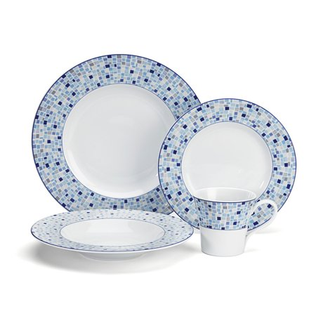 Cuisinart 16 Piece White Porcelain Dinnerware Plate & Dish Set w/ Blue Pattern ()