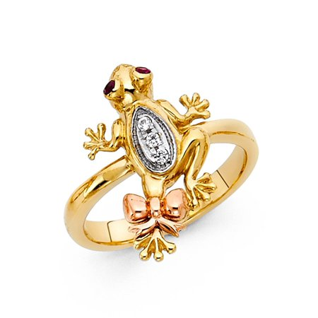 Solid 14k Yellow White Rose Gold Frog Ring CZ Toad Band Bow Tie Good Luck & Money Tri (Good Luck Money Ring)