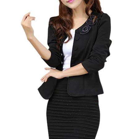 Women Front Opening Form-fitting Atumn Casual Black Jacket XS