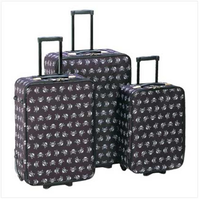 Sunrise Wholesale 12930 3Pieces Stylish Skull Crossbones Design Travel Luggage Bags