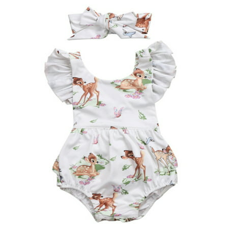 Kids Clothing Stores Online (Bilo store Infant Baby Girl Ruffled Cap Sleeve Sunsuit Romper with Self-tied Headband 2 pcs Outfit Set (100/12-18)
