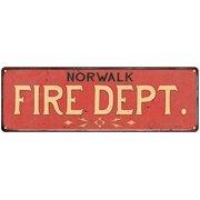 NORWALK FIRE DEPT. Vintage Look Metal Sign Chic Decor Retro 6183998