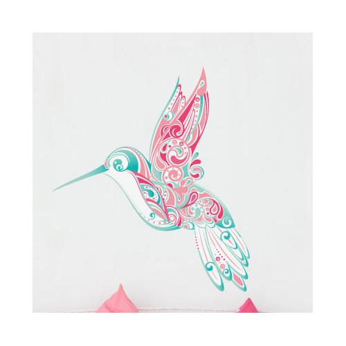 My Wonderful Walls Hummingbird Swirl Wall Sticker by My Wonderful Walls