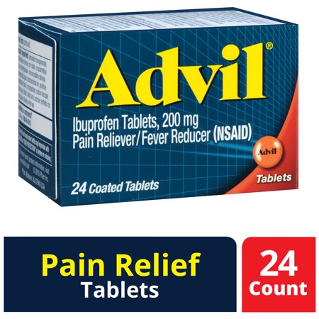 Advil (24 Count) Pain Reliever / Fever Reducer Coated Tablet, 200mg Ibuprofen, Temporary Pain