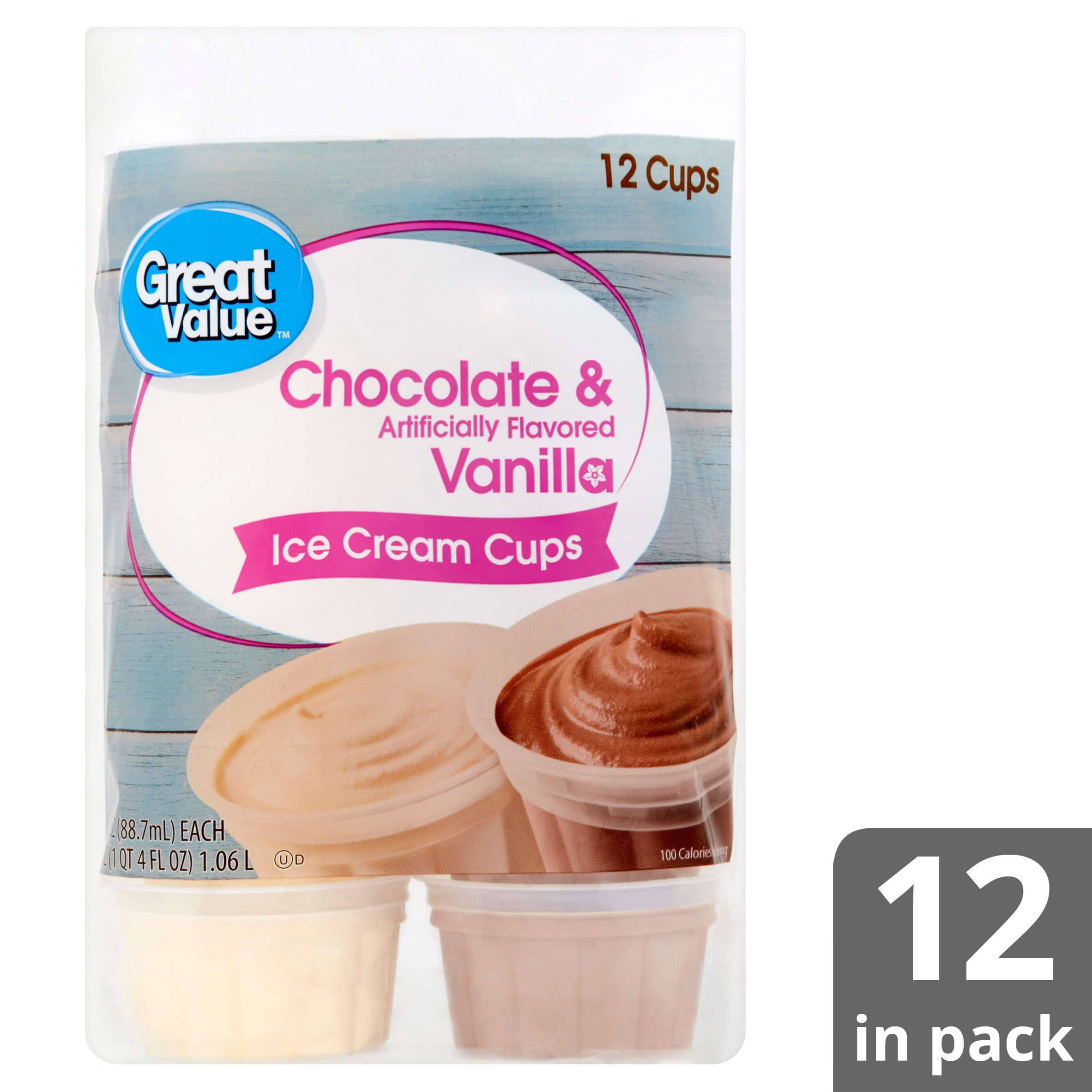 77fad87be38 Great Value Chocolate & Vanilla Ice Cream Cups, 36 oz, 12 Count -  Walmart.com
