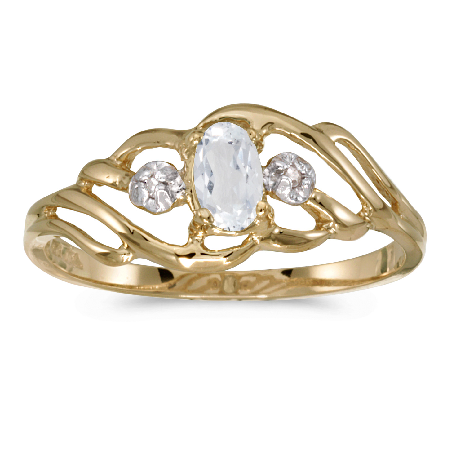 10k Yellow Gold Oval White Topaz And Diamond Ring by